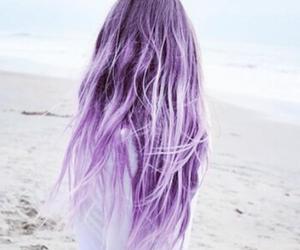 hair, purple, and beach image