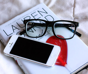 book, glasses, and iphone image