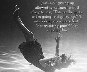 drowning, give up, and hurt image