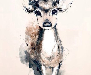 drawing, art, and deer image