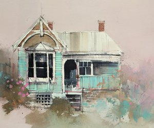 artist, painting, and house image