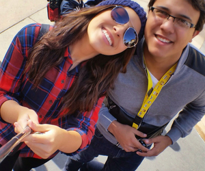 couple, plaidshirt, and selfiestick image