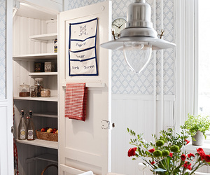 flowers, kitchen, and lamp image