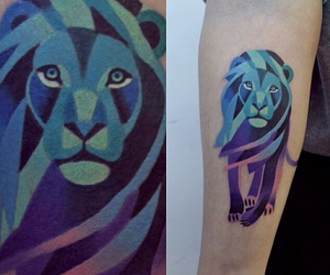 lion, tattoo, and blue image