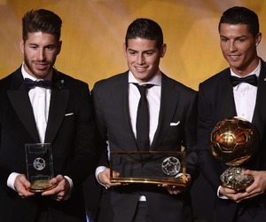cristiano ronaldo, james rodriguez, and real madrid image