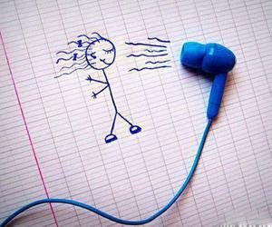 music, drawing, and blue image