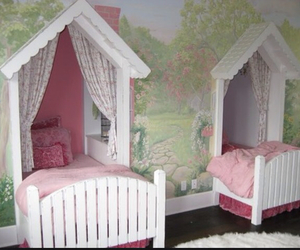 bed, children, and curtains image