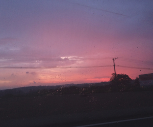 pink sky, road, and rain image