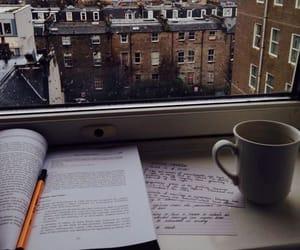 book, coffee, and rain image