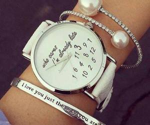 watch, bracelet, and white image