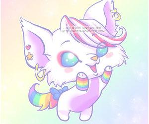rainbow kitty, happy, and kawaii image