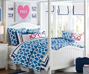 bedding, dorm, and blue image