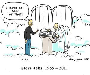 Steve Jobs, heaven, and app image