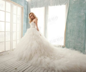 long dress, wedding, and wedding dress image