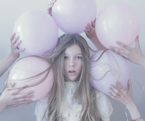 girl, balloons, and pastel image