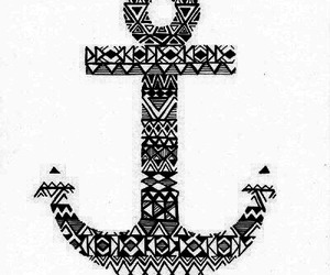 anchor, tribal, and blue image
