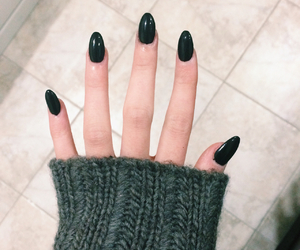 black nails, nails, and sweater image