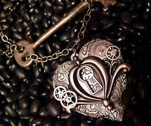 heart, locket, and love image