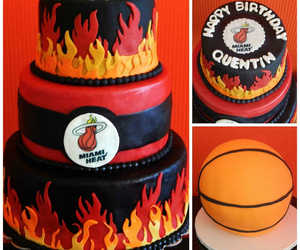 Basketball, birthday cake, and miami heat image