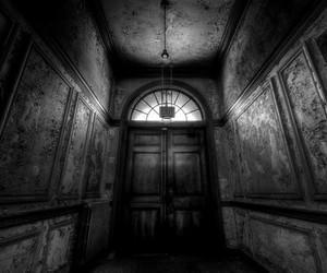 black and white, dark art, and Darkness image