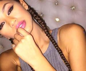 braids, natural hair, and light skin image