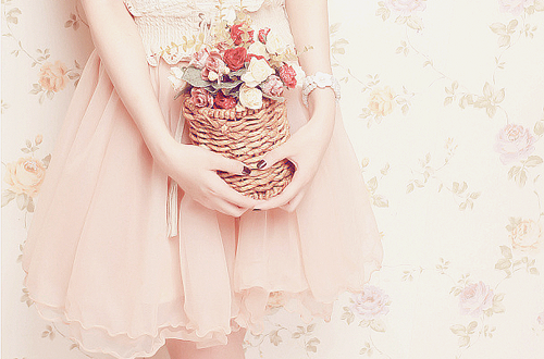 flowers, dress, and pink image