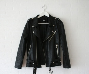 black, leather, and clothes image