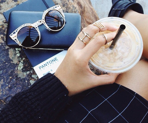 black boots, ice coffee, and urban outfitters image