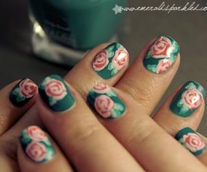floral, K, and nail art image