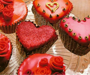 cupcakes, hearts, and red image