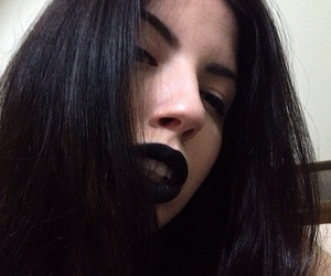 big lips, black hair, and black lipstick image