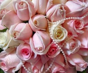 flowers, pearls, and roses image