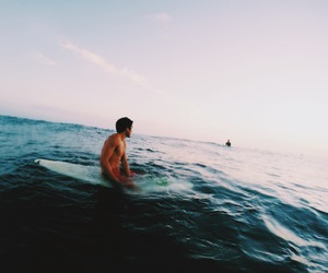 boy, surf, and sea image