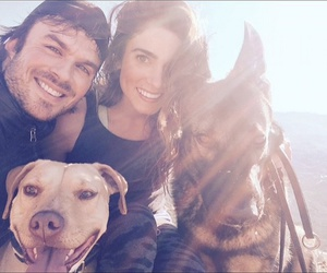 ian somerhalder, nikki reed, and dogs image