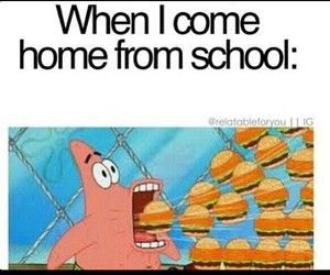 school, food, and patrick image