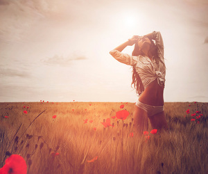beauty, girls, and nature image