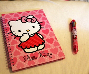hello kitty, notebook, and pink image