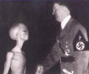 hitler, alien, and black and white image