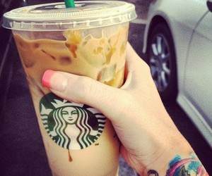 coffee, nails, and yummy image