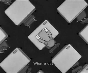 school, simpsons, and black and white image