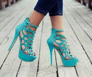 blue, girl, and shoes image