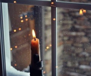 candle, fenster, and snow image