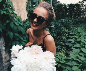girl, flowers, and smile image