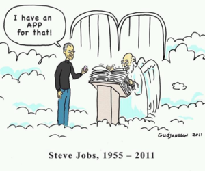 Steve Jobs, heaven, and app image