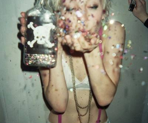 drunk, girl, and sparkles image