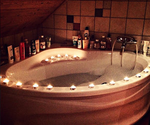 bath, bathtub, and candle image