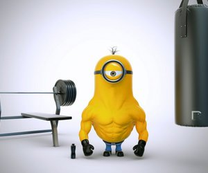 abs, funny, and minion image