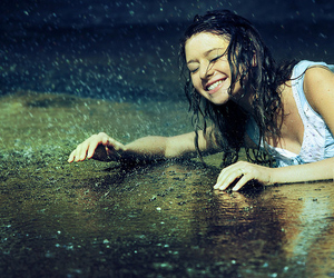 rain, girl, and happy image