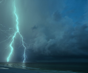 blue, cloudy, and lightning image