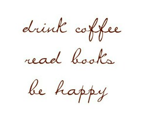 book, happy, and coffee image